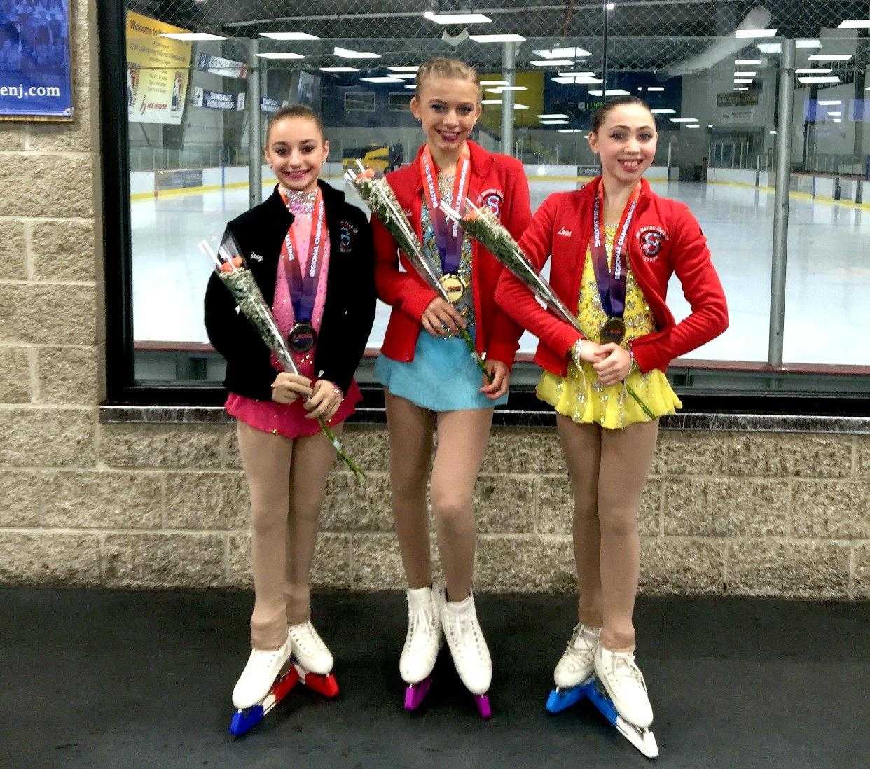 Violeta Ushakova (1st, SCNY); irene Kim (2nd, Ice House NJFSC - Not Shown); Laura Jacobson (3rd, SCNY); Tiffany Pennella (4th, SCNY)