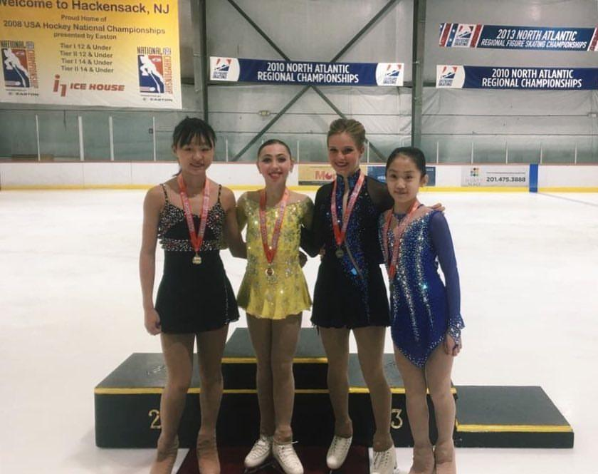 Laura Jacobson (1st, SCNY); Irene Kim (2nd, Ice House NJFSC); Summer Kaminski (3rd, No. Jersey FSC); Emma Chou (4th, SCNY)